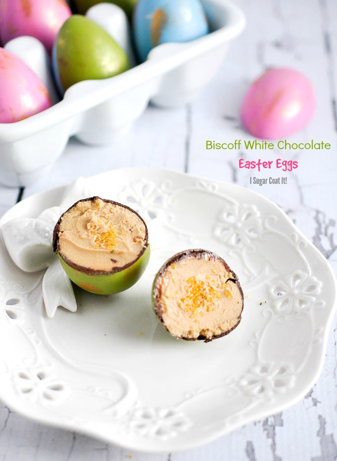 Dark Chocolate Easter Eggs filled with Biscoff and White Chocolate.